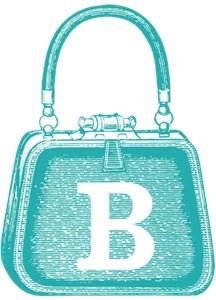 Monogram Vintage Blue Purse Graphic