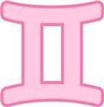 Pink Zodiac Symbol Gemini