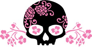 Skull With Pink Blossoms