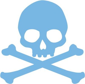 Blue Skull And Crossbones
