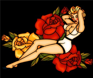 Retro Pinup Girl And Roses Tattoo Art