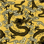 Chinese Dragon Pattern Gold Black