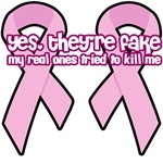 Breast Cancer Awareness Pink Ribbon fake boobs