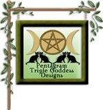 Triple Goddess Pentagram Black Cats