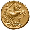 Horses, harness racing, chariot driving coin.