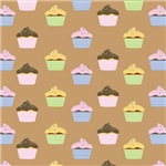 Cupcake Pattern (Brown)