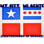 Old Puerto Rican Flag with Chicago Flag