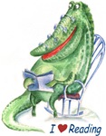 This is original humorous gift with a funny hand drawn image of crocodile with many glasses, which is so much fond of reading.