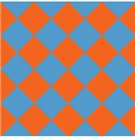 Harlequin Diamond Argyle Pattern Orange Blue