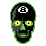 Green Eight Ball Skull