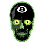 Green Eight Ball Skull