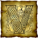 Celtic Knotwork Letter V