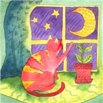 Cat and Moon Watercolor