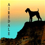Airedale Terrier Sunset Cliff
