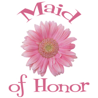 Maid of Honor Wedding Apparel Gerber Daisy Pink