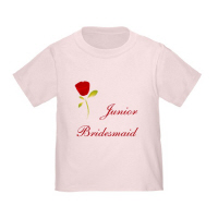Wedding Party Red Rose Junior Bridesmaid T Shirt