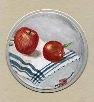 Two Apples on a Blue Tea Towel
