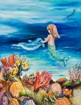 Mermaid and dolphine meet