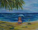 Smiling mermaid with hatching sea turtles 14x11