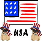 Patriotic USA Pug Dogs
