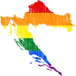 Croatia Rainbow Pride Flag And Map