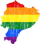 Ecuador Rainbow Pride Flag And Map