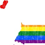 Equatorial Guinea Rainbow Pride Flag And Map