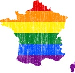France Rainbow Pride Flag And Map