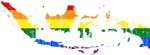Indonesia Rainbow Pride Flag And Map