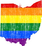 Ohio Rainbow Pride Flag And Map