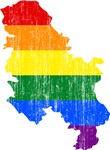 Serbia Rainbow Pride Flag And Map