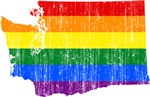 Washington Rainbow Pride Flag And Map