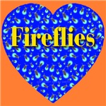 Fireflies Blue Gold Heart