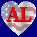 Love AL Flag Heart