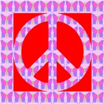 Peace Symbol Butterflies on Red