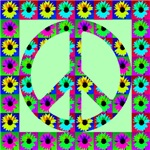 Peace Symbol Blackeyed Susans on Exotic Jade