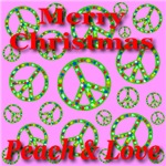 Merry Christmas Peace & Love Cyan Classic