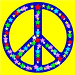 Peace Symbol Yellow Stars 
