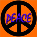 Peace Symbol Child's Script Orange