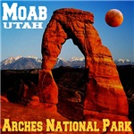 Moab, UT, Rare Red Moon At Delicate Arch