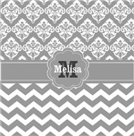 Gray chevron damask monogram
