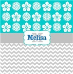 Teal bloom gray chevron personalized