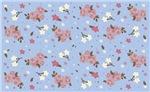 Vintage floral design on baby blue