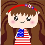 Cute American Flag July 4th Girl