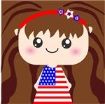 Cute American Flag July 4th Girl