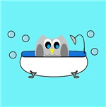 Owl In Tub (Turquoise)