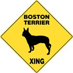 Boston Terrier Crossing Sign