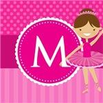 Cute Pink Ballerina Kids Monogram