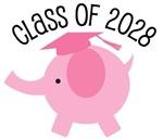 Girls Class Of 2028 cute grad tees