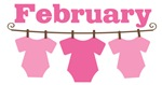 Cute February Pink Baby Clothes Announceme
